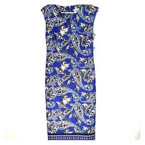 Beige by ECI Blue Paisley Scuba Dress